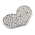 Silver Plated Pave Set Clear Crystal Heart Brooch - 47mm - view 2