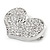 Silver Plated Pave Set Clear Crystal Heart Brooch - 47mm - view 3
