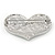 Silver Plated Pave Set Clear Crystal Heart Brooch - 47mm - view 4