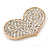 Gold Plated Pave Set Clear Crystal Heart Brooch - 47mm - view 2