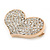 Gold Plated Pave Set Clear Crystal Heart Brooch - 47mm - view 3