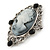 Vintage Inspired Crystal 'Lady' Grey Cameo Brooch/Pendant In Antique Silver Tone - 50mm L - view 2