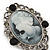 Vintage Inspired Crystal 'Lady' Grey Cameo Brooch/Pendant In Antique Silver Tone - 50mm L - view 3