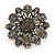Vintage Inspired Grey Coloured Austrian Crystal Floral Brooch In Antique Silver Tone - 43mm D