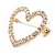Gold Plated Clear Crystal Open Heart Brooch - 35mm - view 2