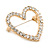 Gold Plated Clear Crystal Open Heart Brooch - 35mm - view 3