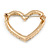 Gold Plated Clear Crystal Open Heart Brooch - 35mm - view 4