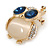 Gold Plated Clear/ Blue Crystal with Cat Eye Stone Owl Brooch - 35mm L - view 5