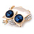 Gold Plated Clear/ Blue Crystal with Cat Eye Stone Owl Brooch - 35mm L - view 4