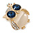 Gold Plated Clear/ Blue Crystal with Cat Eye Stone Owl Brooch - 35mm L - view 3