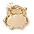Gold Plated Clear/ Blue Crystal with Cat Eye Stone Owl Brooch - 35mm L - view 2