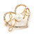 Gold Plated Clear Crystal, Pearl, Love Open Heart Brooch - 40mm - view 3