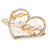 Gold Plated Clear Crystal, Pearl, Love Open Heart Brooch - 40mm - view 4