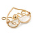 Gold Plated Clear Crystal, Pearl, Love Open Heart Brooch - 40mm - view 2