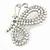 Exquisite AB/ Clear Crystal, White Faux Pearl Butterfly Brooch In Silver Tone - 50mm - view 2