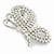 Exquisite AB/ Clear Crystal, White Faux Pearl Butterfly Brooch In Silver Tone - 50mm - view 3
