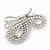 Exquisite AB/ Clear Crystal, White Faux Pearl Butterfly Brooch In Silver Tone - 50mm - view 4