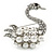 Clear Crystal, White Glass Pearl Swan Brooch In Rhodium Plating - 45mm