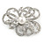Bridal/ Wedding/ Prom Asymmetric Crystal Flower Brooch In Rhodium Plating - 60mm - view 4