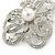 Bridal/ Wedding/ Prom Asymmetric Crystal Flower Brooch In Rhodium Plating - 60mm - view 5