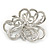 Bridal/ Wedding/ Prom Asymmetric Crystal Flower Brooch In Rhodium Plating - 60mm - view 2