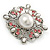 Vintage Bridal Corsage Simulated Pearl Pink Crystal Brooch In Silver Tone Metal - 50mm D - view 5