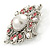Vintage Bridal Corsage Simulated Pearl Pink Crystal Brooch In Silver Tone Metal - 50mm D - view 3