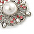 Vintage Bridal Corsage Simulated Pearl Pink Crystal Brooch In Silver Tone Metal - 50mm D - view 4