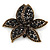 Large Black Diamante Floral Brooch/ Pendant In Bronze Tone Metal - 90mm
