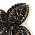 Large Black Diamante Floral Brooch/ Pendant In Bronze Tone Metal - 90mm - view 3
