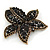 Large Black Diamante Floral Brooch/ Pendant In Bronze Tone Metal - 90mm - view 6