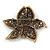 Large Black Diamante Floral Brooch/ Pendant In Bronze Tone Metal - 90mm - view 5