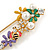 Multicoloured Enamel Flowers, Bee, Simulated Pearls Safety Pin Brooch In Gold Tone - 80mm L - view 2
