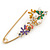 Multicoloured Enamel Flowers, Bee, Simulated Pearls Safety Pin Brooch In Gold Tone - 80mm L - view 4