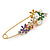 Multicoloured Enamel Flowers, Bee, Simulated Pearls Safety Pin Brooch In Gold Tone - 80mm L - view 6