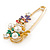Multicoloured Enamel Flowers, Bee, Simulated Pearls Safety Pin Brooch In Gold Tone - 80mm L - view 5