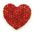 Pink Austrian Crystal Pave Set Heart Brooch In Bright Gold Tone Metal - 35mm L