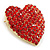 Pink Austrian Crystal Pave Set Heart Brooch In Bright Gold Tone Metal - 35mm L - view 2