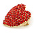 Pink Austrian Crystal Pave Set Heart Brooch In Bright Gold Tone Metal - 35mm L - view 3