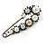 Large Vintage Inspired Glass Pearl, Crystal Safety Pin Brooch In Gun Metal Finish - 90mm - view 1