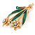 Crystal Daffodil With Green Enamel Leaves Floral Brooch In Gold Plating - 60mm L - view 2