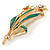 Crystal Daffodil With Green Enamel Leaves Floral Brooch In Gold Plating - 60mm L - view 3
