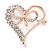 Clear Crystal Open Heart with Bow Brooch In Gold Plated Metal - 40mm