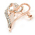 Clear Crystal Open Heart with Bow Brooch In Gold Plated Metal - 40mm - view 2
