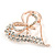 Clear Crystal Open Heart with Bow Brooch In Gold Plated Metal - 40mm - view 3