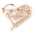 Clear Crystal Open Heart with Bow Brooch In Gold Plated Metal - 40mm - view 4