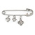 Silver Plated Safety Pin Brooch with Crystal Charms - 65mm L - view 2