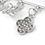 Silver Plated Safety Pin Brooch with Crystal Charms - 65mm L - view 4