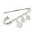 Silver Plated Safety Pin Brooch with Crystal Charms - 65mm L - view 5