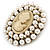 Victorian Inspired Faux Pearl Cameo Brooch In Antique Gold Tone - 55mm - view 2
